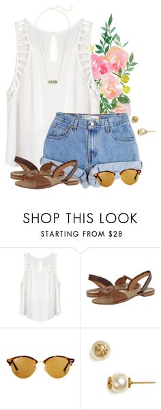 """""""Simple outfit for getting ice cream """" by flroasburn ❤ liked on Polyvore featuring Lush Clothing, Levi's, Jack Rogers, Ray-Ban, Tory Burch and Kendra Scott"""