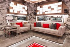 The Big Brother Canada house got a chic makeover for season What better than an espionage inspired theme as cameras spy on houseguests Take a tour of the new house! Big Brother Canada, Canada House, Room Tour, Season 7, House 2, February, New Homes, Backyard, Sofa