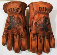 I'm definitely a sucker for traditional tattoos. I have been ever since I was around yrs old and started paying attention to my uncle's… Biker Gloves, Biker Gear, Motorcycle Gloves, Work Gloves, Motorcycle Outfit, Biker Leather, Leather Gloves, Music Gadgets, Denim Boots