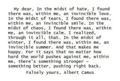 Albert Camus - perfect! beautiful! Yes! An invincible summer!