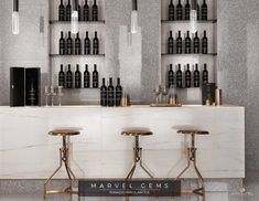 Marvel Gems Terrazzo porcelain tiles inspired by Venetian Terrazzo for modern architecture. Terrazzo, Wine Bar Design, Home Wine Bar, Marvel Gems, Tile Manufacturers, Hospitality Design, Cafe Bar, Porcelain Tile, Restaurant Bar