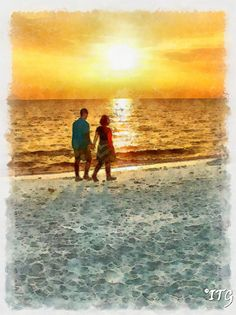 Couple Strolling On The Beach At Sunset