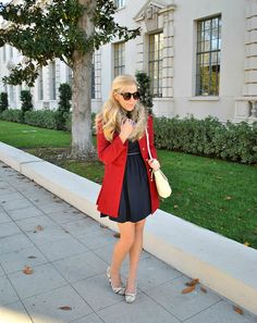 Navy Dress, Red Coat, Faux Fur Scarf