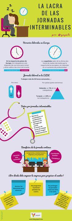 Management : La lacra de las Jornadas Interminables #infografia #infographic #rrhh