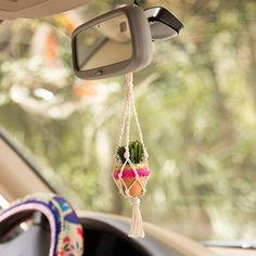 The adorably Mini Macramé Succulents are perfect to hang in any tiny spot, even your rearview mirror!