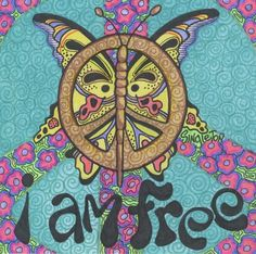 Butterfly peace sign hippie art design - I am Free.