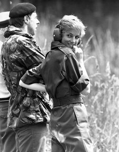 Diana visits the Royal Hussars on military exercise, Salisbury Plain, Wiltshire
