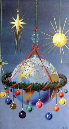 1950's vintage illustration, atomic, space age Christmas, planet. Baubles, sputniks and stars.