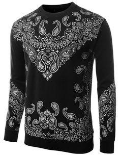 Doublju Men's Hipster Hip Hop Bandana Print Pullover Sweater BLACK