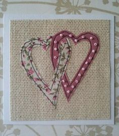 Embroidery Ideas Hearts Card More - Embroidery Cards, Free Motion Embroidery, Embroidery Patterns, Wedding Embroidery, Fabric Cards, Fabric Postcards, Freehand Machine Embroidery, Free Machine Embroidery, Wedding Cards Handmade