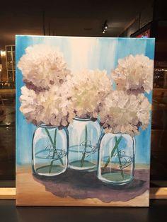 Mason jar acrylic painting