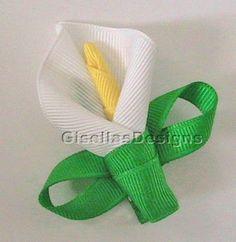 Lily Flower Ribbon sculpture bow / flower hair clip