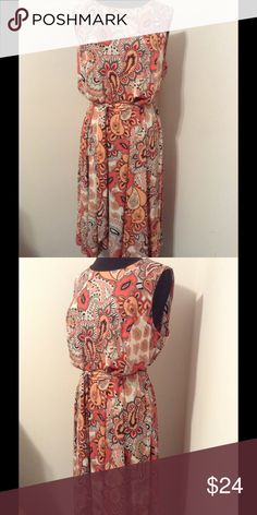 """Charter Club Plus Size 1X Dress Paisley NWT NWT, Very pretty dress. Scoop neck, sleeveless, ties around the waist, roomy and looks very comfortable. Dress has stretch. waist seam with darts going up to chest, not lined, material is heavy. Knee  length, multi-color, 95 polyester, 5 spandex. Size 1X.  Always go by measurements rather than tag size. •Chest (armpit to armpit times 2): 42"""" •Waist (across times 2):  38"""" •Hips (across times 2): very wide •Hemline (across times 2): very…"""