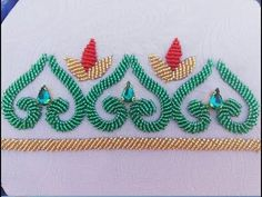 Embroidery Motifs, Simple Embroidery, Hand Embroidery Designs, Beaded Embroidery, Mirror Work Blouse, Hand Embroidery Tutorial, Bead Sewing, Gold Art, Caftans