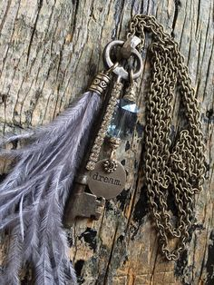 Skeleton Key Ostrich Feather Dream Charm Necklace