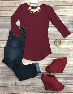 This is the Key Top: Burgundy from privityboutique - with different shoes Classy Outfits, Cute Outfits, Classy Clothes, Fall Clothes, Work Clothes, Burgundy Dress Outfit, Burgundy Shoes, Fall Winter Outfits, Autumn Winter Fashion