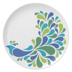 Retro Peacock Dinner Plates