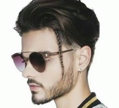One long braid, then put my beads on it. Mens Hairstyles Pompadour, Hairstyles Haircuts, Braided Hairstyles, Beard Styles For Men, Hair And Beard Styles, Curly Hair Styles, Trendy Haircuts, Haircuts For Men, Barber Haircuts