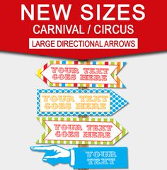 DIY Carnival Directional Sign | Editable Templates | Carnival Theme | Circus Theme | Birthday Party Decorations | via SIMONEmadeit.com