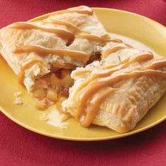 Individual fruit pies combine fall favorite flavors of apple and caramel.
