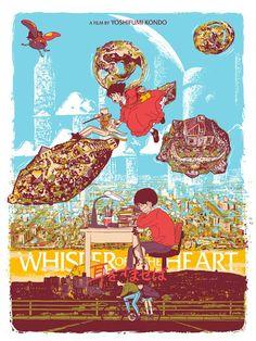 Whisper of the Heart Poster by Mondo Style RARE! Studio Ghibli Art, Studio Ghibli Movies, Studio Art, Yoshifumi Kondo, The Cat Returns, Japanese Animated Movies, Heart Poster, Alternative Movie Posters, Retro Illustration