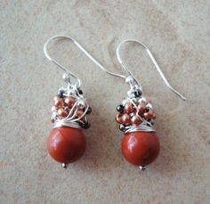 Red jasper wire wrapped cluster earrings. Sterling silver. Round bead. Tiny mixed metal beads
