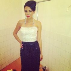 Janel Parrish as Mona behind the scenes of Pretty Little Liars. Million Dollar Wedding, Janel Parrish, Pretty Little Liars, American Actress, Dancer, Beautiful Pictures, Actresses, Formal Dresses, Pll