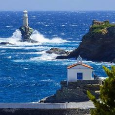 & present this amazing shot by Location: Andros Andros Greece, Deep Blue Sea, Archaeological Site, Travel Maps, Greece Travel, Greek Islands, Places To See, City, World