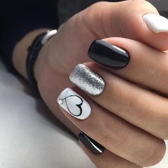 44 + Arten von Make-up-Nägeln Art Nailart 134 nail art 44 - Nail Art Nail Art Designs, Classy Nail Designs, White Nail Designs, Nails Design, Silver Nails, Black Nails, White Nails, Pink Nails, White Shellac