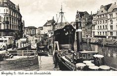 Königsberg Pr. Blick von der Schmiedebrücke auf den Neuen Pregel zwischen dem Kneiphöfischen Ufer (links) und dem Alstädtischen Ufer (rechts) von Königsberg. ca. 1932.