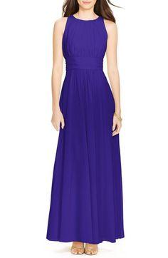 Lauren Ralph Lauren Gathered Georgette Gown (Regular & Petite) available at…