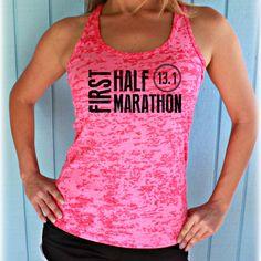 Womens First Half Marathon Running Tank Top. 13 Point One Race Training Burnout Tank Top. Great Gift for the Half Marathon Runner. Cute Workout Tank. 13.1