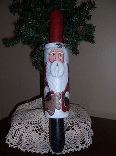 santa painted rolling pins - Bing Images