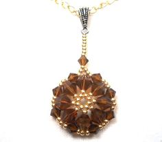Beaded Pendant Swarovski Crystal Smoked by SmileykitCreations, $15.00