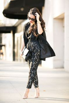 Caped Crusader :: Lace jumpsuit & Black cape blazer (via Bloglovin.com )