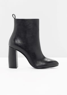 & Other Stories image 1 of Sculpture Heel Leather Boots  in Black