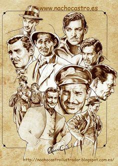 "Clark gable, illustration from the book ""Hombres de Hollywood"".Nacho Castro.Diábolo ediciones"