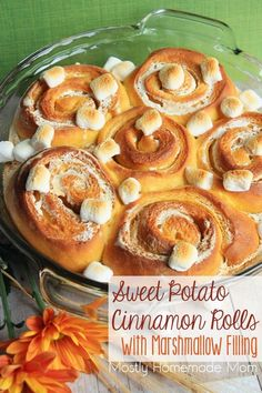 Sweet Potato Cinnamon Rolls with Marshmallow Filling - With sweet potato puree in the dough and stuffed with ooey, gooey marshmallow fluff, these are some of the best cinnamon rolls I've ever had! Sweet Potato Cinnamon, Best Cinnamon Rolls, Sweet Potato Recipes, Brunch Recipes, Fall Recipes, Breakfast Recipes, Party Recipes, Pumpkin Recipes, Brunch Ideas
