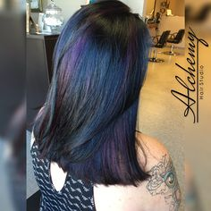 Oil slick highlights on brown hair google search express oil slick color is on trend this summer we achieved this iridescent look using wella solutioingenieria Images