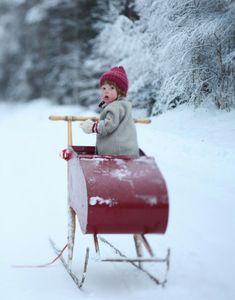 red sled... too cute!