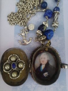 Vintage locket, portrait necklace, Silver assemblage jewelry, Georgian inspired pendant, Lapis Lazuli statement, antique style, chunky beads Silver Necklaces, Handmade Necklaces, Handmade Jewelry, Lapis Lazuli, Unusual Jewelry, Antique Jewelry, Vintage Lockets, Crystal Fashion, Cameo Jewelry