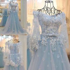AHS001 New Arrival Tulle Off-Shoulder Tiffany Blue with Appliques Train Prom Dresses 2017