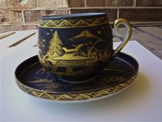DELICATE TEA CUP AND SAUCER WITH LITHOPANE ON BOTTOM OF CUP