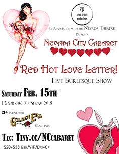 Nevada City Cabaret: Red Hot Love Letter- A Valentine's Day Experience!