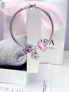 50% OFF!!! $139 Pandora Bangle Charm Bracelet White Pink. Hot Sale!!! SKU: CB01869 - PANDORA Bracelet Ideas
