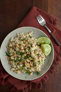 Thai roasted cauliflower with pearl couscous--a lighter take on Thai food that makes delicious leftovers.
