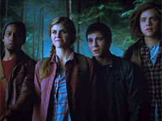 Brandon Jackson, Alexandra Daddario, Logan Lerman and Douglas Smith in Percy Jackson: Sea of Monsters Brandon Jackson, Saga, Missi Pyle, Anthony Head, Leven Rambin, Percy Jackson Movie, Douglas Smith, Yvette Nicole Brown, Sea Of Monsters