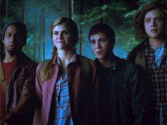 Brandon Jackson, Alexandra Daddario, Logan Lerman and Douglas Smith in Percy Jackson: Sea of Monsters