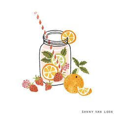 Some refreshing fruit water recipes to try on this sunny spring day 🍓🍋🍊… – Bilder Obst & Gemüse – Fruit Simple Illustration, Fruit Illustration, Logo Dulce, Fruit Water Recipes, Fruit Sketch, Fruits Drawing, Fruit Art, Spring Day, Food Illustrations