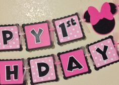 Minnie Mouse Birthday Banner hot pink by CelebrationBanner on Etsy Minnie Mouse Games, Minnie Mouse Party, Mouse Parties, Tea Party Birthday, Birthday Games, Mickey Mouse Birthday, 3rd Birthday, Birthday Ideas, Pink Minnie